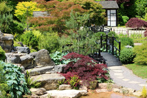 oriental garden design ideas. View of distant tea house  reached by walking along a stepping stone pathway Oriental Gardens and Landscaping Ideas Japanese Garden Design
