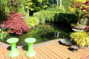 Image of beautiful koi pond, where the filter is completely hidden out of sight