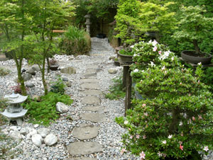 Stepping Stone For Garden Stepping stones and pathways japanese garden design further view of stepping stone path and bonsai trees growing outside in an oriental garden workwithnaturefo