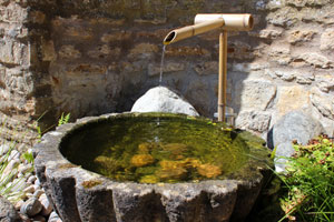 Photo of a flower shaped Kiku bachi basin with trickling water